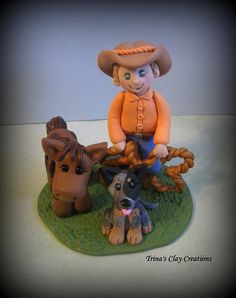 Cowboy, Pony and Dog Birthday Cake topper/keepsake by Trina's Clay Creations
