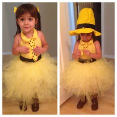 So when my daughter turned 2 (in October) we just knew her bday theme had to be Curious George. But sadly I just couldn't find a cute costume for her. So this is my take in The Man With the Yellow Hat.