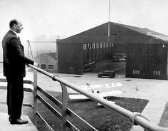 Main hangar, Barton Airport, taken from the newly built Control Tower. 1933.