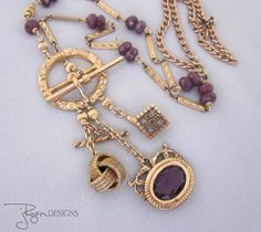 Heirloom quality, antique Victorian watch chain and fob charm necklace - one of a kind designs from JryenDesigns