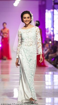 Vietnamese-American designer, Jacky Tai, sends his bridal collection of wedding ao dai's and wedding gowns down the catwalk at Viet Fashion Week Fashion Week 2016, Wedding Pinterest, Ao Dai, Bridal Collection, Catwalk, Wedding Gowns, Runway, Sari, Formal Dresses
