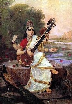 "Saraswati (Sanskrit: सरस्वती) is the goddess of knowledge, music and the arts. She is the consort of Brahma. Saraswati is considered to be the ""mother of the Vedas"". The name Saraswati came from ""saras"" (meaning ""flow"") and ""wati"" (meaning ""a woman""). So, Saraswati is symbol of knowledge; its flow (or growth) is like a river and knowledge is supremely alluring, like a beautiful woman."