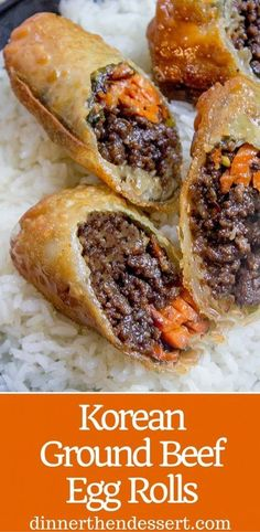 Chicken egg rolls recipe chicken pinterest chicken egg rolls korean ground beef egg rolls made with just a few ingredients are a great party food forumfinder Choice Image