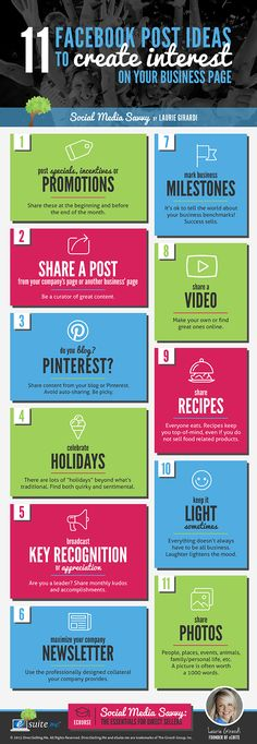 11 Facebook Post Ideas To Create Interest On Your Business Page - #infographic