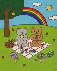 CACACAT: Picnic with My Fluffy Friend Friends Illustration, Picnic, Kids Rugs, Kid Friendly Rugs, Picnics, Nursery Rugs