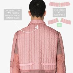Craig Green Quilted Jacket Details - The Cutting Class Collar Pattern, Jacket Pattern, Light Mint Green, Pink And Green, Lining Fabric, Woven Fabric, One Piece Vs, Jacket Images, Craig Green