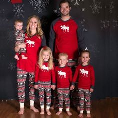Moose Fairy Christmas Family Pajamas Set Adult Women Kids Sleepwear  Nightwear in Clothing 5dec97334