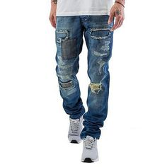 Just-Rhyse-Patch-Straight-Fit-Jeans-Blue-Herren-Hose-Style-Fashion-Straight-Fit