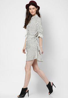 11e143a2a89 Buy New Look Black Stripe Print Longline Shirt Dress Online - 3221464 -  Jabong