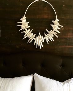 Wall hanging/Wall decoration Cuttlefish bone/claybeads/hempcord/handmade with love by me