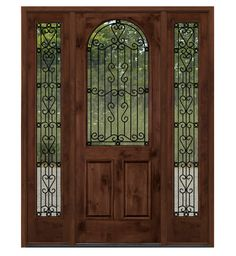 Shop for Top Quality Iron Doors in Knotty Alder and Mahogany . Wrought Iron Door Grills and Arched Top Exterior Knotty Alder Doors with Enhance the Look of Your Home with the wrought Iron doors details. Exterior Doors With Sidelights, Exterior Doors With Glass, Wood Exterior Door, Rustic Exterior, Glass Doors, House Entrance, Entrance Doors, Front Doors, House Doors