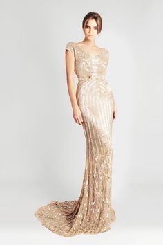 This gown has an Art Deco feel to the pattern of the beadwork.  Just beautiful! Georges Hobeika Signature S/S 2013