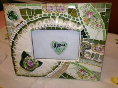 beautiful picture frames | Beautiful Vintage China Mosaic Picture Frame - Green & Gold Vintage ...