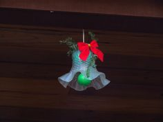 Christmas bell made from ceiling fan globe, Styrofoam satin ball, old Christmas light bulb, string, greenery and ribbon. Christmas Lights Outside, Old Christmas, Christmas Bells, Christmas Angels, Simple Christmas, Christmas Holidays, Christmas Ornaments, Christmas Ideas, Holiday Ideas
