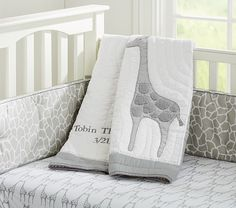 Gray Giraffe | Tobin Nursery Bedding | Pottery Barn Kids (quilt, fitted sheet, bumper and crib skirt)