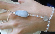 Moonstone and druzy one finger hand bracelet by PanachebyAmanda, $44.20