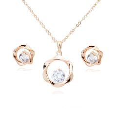 Gold Plated Set with chain and CZs - Q275.00