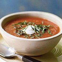 "Fresh Tomato Soup - ""I love tomato soup and have found a way to enjoy it when the weather gets cooler by using plum tomatoes. Theyre flavorful year-round.\""  —Danese Blackwell, Farmington, Utah.  Print this recipe at AmericanFamily.com."