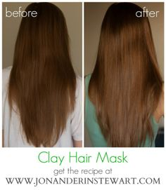 Jon & Erin Stewart: DIY Clay Hair Mask Recipe - non-toxic, chemical-free, organic and all natural Homemade Beauty, Diy Beauty, Beauty Hacks, Homemade Facials, Natural Hair Care, Natural Hair Styles, Natural Beauty, Natural Skin, Clay Hair Mask