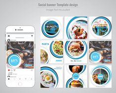 Food Social Media Post Template For Restaurant Social Media Banner, Social Media Template, Social Media Design, Company Brochure Design, Magazine Ideas, Facebook Cover Template, Bussiness Card, Food Advertising, Creative Brochure