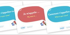 A set of rather pretty posters featuring basic questions and answers in French.