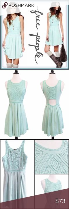 """Free People Fit and Flare dress in wintermint ➖BRAND: Free People  ➖SIZE: Small     ➖LENGTH: 33"""" ➖STYLE: Sassy Soutache Fit and Flare Dress in Winter Mint Green  ➖Fit-n-flare mini dress with gorgeous texturized fabric pattern on upper bodice with bead detailing. Cool cutout detailing at middle back. Mesh trimming.  ➖95% Cotton, 5% Lycra Free People Dresses"""