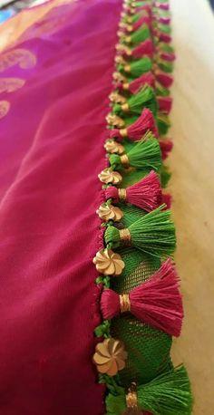Latest Simple saree tassels collections_ Saree Kuchu with Crystals and Beads Designs! Saree Kuchu New Designs, Saree Jacket Designs, Saree Tassels Designs, Pattu Saree Blouse Designs, Blouse Designs Silk, Sari Blouse, Lace Saree, Churidar Designs, Saree Dress