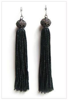 The Woods Diamond Sphere and Black Tassel Earrings at ShopGoldyn.com