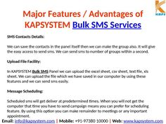 Advantages of KAPSYSTEM Bulk SMS Services