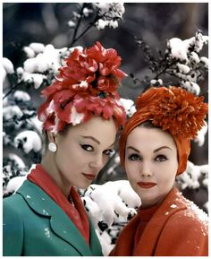 Ivy and model wearing spring turban-style flowered hats in Winter.  Photo by Yale Joel, 1940s.