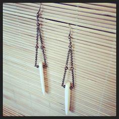 Bone & brass earrings created by Rachel Bleckman for Blue Door Beads. Photo by rerephoto.com.