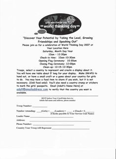 Girl Scouts World Thinking Day Event Planning