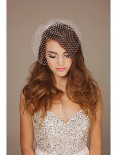 rhinestone bird cage veil and I love the top of her dress