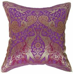 "Amazon.com - Artiwa Traditional Indian Elephants Embroidered Violet Purple and Gold Silk Throw Decorative Pillow Case 16""x 16"" - Throw Pillo..."
