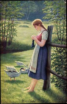 Knitting goose girl, Germany, 1919