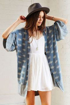 Thistlepearl Printed Kimono - Urban Outfitters add some length not the bottom and it is perfect ☺
