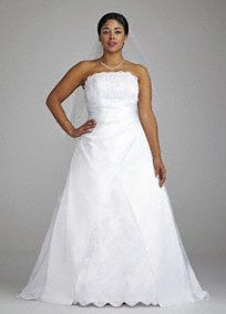 Look like a true princess on your special day in this stunning strapless A-line gown!  Elegant beaded corded lace applique detail adorns the bodice and skirt.  Skirt features split back to shape a slimming A-line silhouette.  Lace-up back adds allure.   Fully lined. Back zip. Imported polyester. Dry clean only.  Available online in White and Ivory.