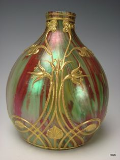 Antique Loetz Marmoriertes Art Nouveau Gilt Iridescent Glass Vase from hideandgokeep on Ruby Lane