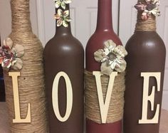 Twine LOVE Wine Bottles upcycled wine bottles country rustic #decoratedwinebottles