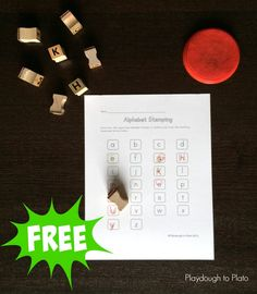 FREE Alphabet Stamping Sheet. Such a fun way to practice letter names, upper and lowercase pairs, ABC order and more. {Playdough to Plato}