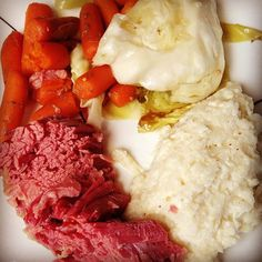 """Corned beef & cabbage with carrots & mashed 5-cheese mustard cauliflower #lowcarb #diabetic friendly"" Photo taken by @thefirehousegourmet on Instagram, pinned via the InstaPin iOS App! http://www.instapinapp.com (10/07/2015)"