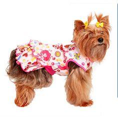 Vestido Fantasy Rosa com Estampa de Doces Pickorruchos - MeuAmigoPet.com.br #petshop #cachorro #cão #meuamigopet