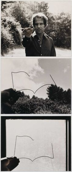 """Luis Camnitzer, The Book of Holes, 1977, three laminated black and white photographs, 11 × 14"""" each. Photos by Peter Schälchli, Zurich."""