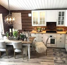 I like this of cabinet and modern style. Also all the different textures. Rustic Kitchen, Kitchen Dining, Kitchen Decor, Cabin Homes, Log Homes, Log Cabin Living, Log Home Interiors, Cabin Kitchens, Cabin Design