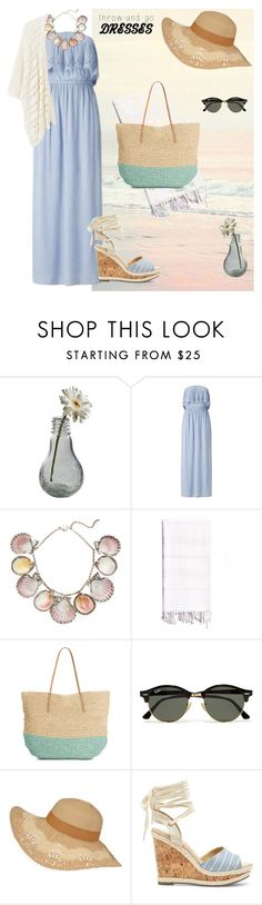 """""""Strapless blue dress"""" by sunshine-sole ❤ liked on Polyvore featuring Dot & Bo, Miss Selfridge, Paolo Costagli, Linum Home Textiles, Target, Ray-Ban, Sole Society and MANGO"""