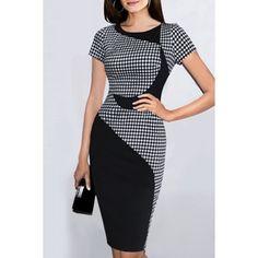 $7.45 Noble Scoop Collar Short Sleeve Gingham Spliced Women's Bodycon Dress