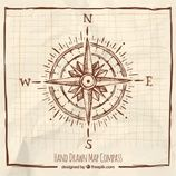Hand drawn compass with frame Free Vector Compass Logo, Compass Design, Compass Tattoo, Compass Drawing, Simple Compass, Vintage Compass, Map Crafts, Wind Rose, Free Frames