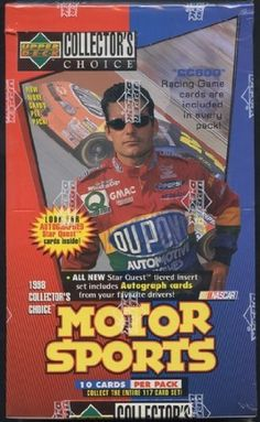 1998 Upper Deck Collector's Choice Racing Retail Box by Collector's Choice. $27.95. This box is packed with great cards!!! Inserts galore plus great drivers make this a product to get!!! 10 cards per pack Inserts: 90 'CC 600' Racing Game cards (1:1 packs) 20 Star Quest 'Qualify' cards (1 Star, 1:2 packs) 10 Star Quest 'Pole' cards (2 Stars, 1:11 packs) 10 Star Quest 'Win' cards (3 Stars, 1:71 packs) 10 Star Quest 'Championship' Autograph cards (4 Stars, 1:250 packs)
