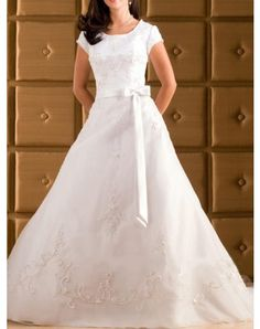 Attractive A-Line/Princess Square Chapel Satin Lace Modest Wedding Dresses  i would wear this!