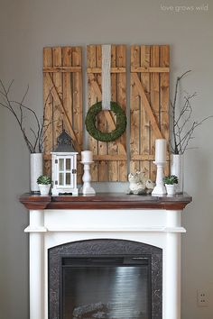 For a sophisticated Spring palette, skip the pastels and go for white, green, and brown decor set atop a rustic wood backdrop.